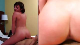 Observe super amazing brunette gf is attacked with cum