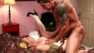 Strong guy holding this sweetie while inserting cock in and out of her slit