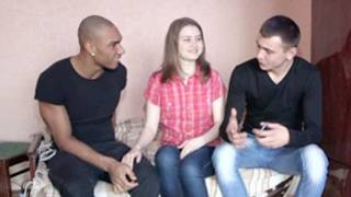Great horny guys are trying to talk a silly girl into rough threesome