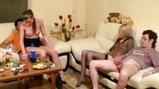 Foursome beating where this slut is going fierce with a above-mentioned studs