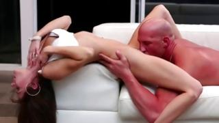Baldheaded head Mr. is sexually licking her twat