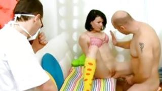 Doctor observing a little one provocative couple is hitting back when him