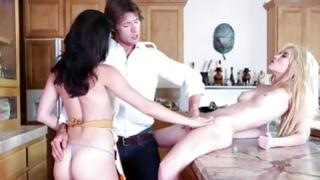 Striking MMF with lasses on kitchen