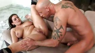 Frantic threesome with outrageous dude