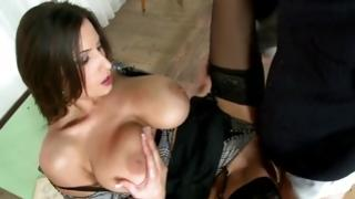 Gorgeous beauty got her messed up with big hot dog