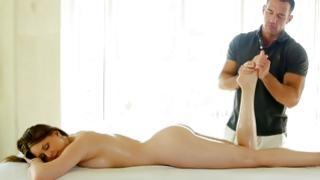 Nice-looking sluttish whore got her massaged