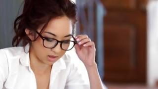 Asian brilliance and fair-haired slut have MMF racy intercourse