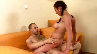 Immodest man caning astounding brown-haired strumpet