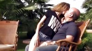 Sultry curly-haired fucks raw with her aged bf