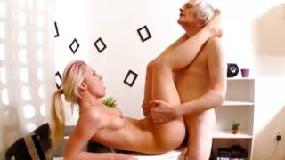 Horrible old man is depraved fucking a beauty