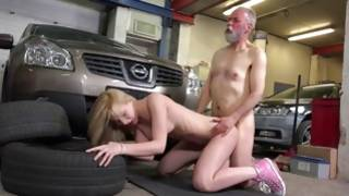 Bearded furious man is sucking her cute breasts