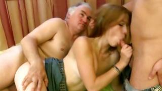 Beautiful blondie enjoying lustful Threesome fuck
