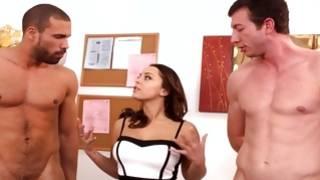 Muscular fellow is talking obscene to spicy sweetie
