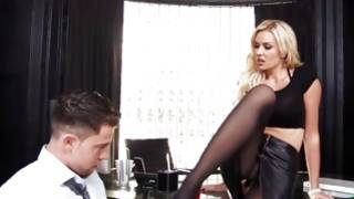 Bizarre chick in leather skirt is decoying kinky dude
