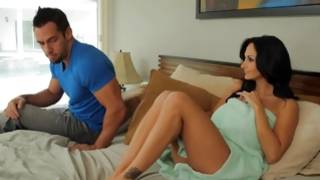 Incredibly hot young gf is posing on bed with a beloved