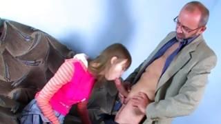 Scanty tittied kinky slut is getting her throat loaded with a sweetmeat